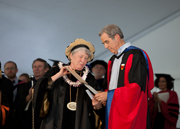President Klawe presents Daub with the Henry T. Mudd Prize