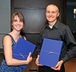 Seniors Elly Schofield and Garrett Menghini receive Student Leadership Awards.
