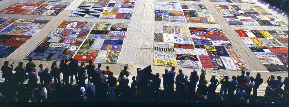 AIDS quilt at Harvey Mudd