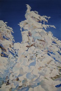 "Windswept Snow Trees; watercolor on Arches Art Board; 30""x20""; 2012; $15,000"