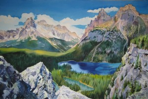 "Lake O'Hara; watercolor on Arches Art Board; 20""x30""; 2011; $15,000"
