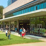 Students walk near Shanahan Center at Harvey Mudd College