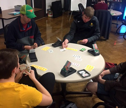 Students playing bridge