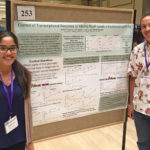 Harvey Mudd chemistry and biology students Lakshmi Batachari '18 and Chris Doering '19 pose next to their winning Undergraduate Research poster at the 2018 Molecular Genetics of Bacteria and Phages meeting.