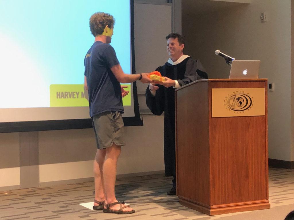 Macsai-Goren receiving the First-Year Writing Award from Paul Steinburg