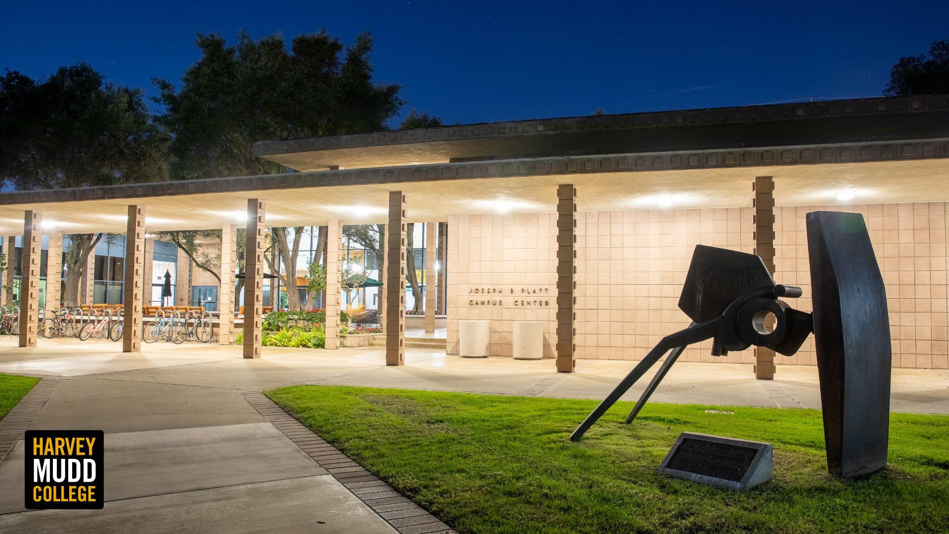 Platt Campus Center at night, Harvey Mudd College