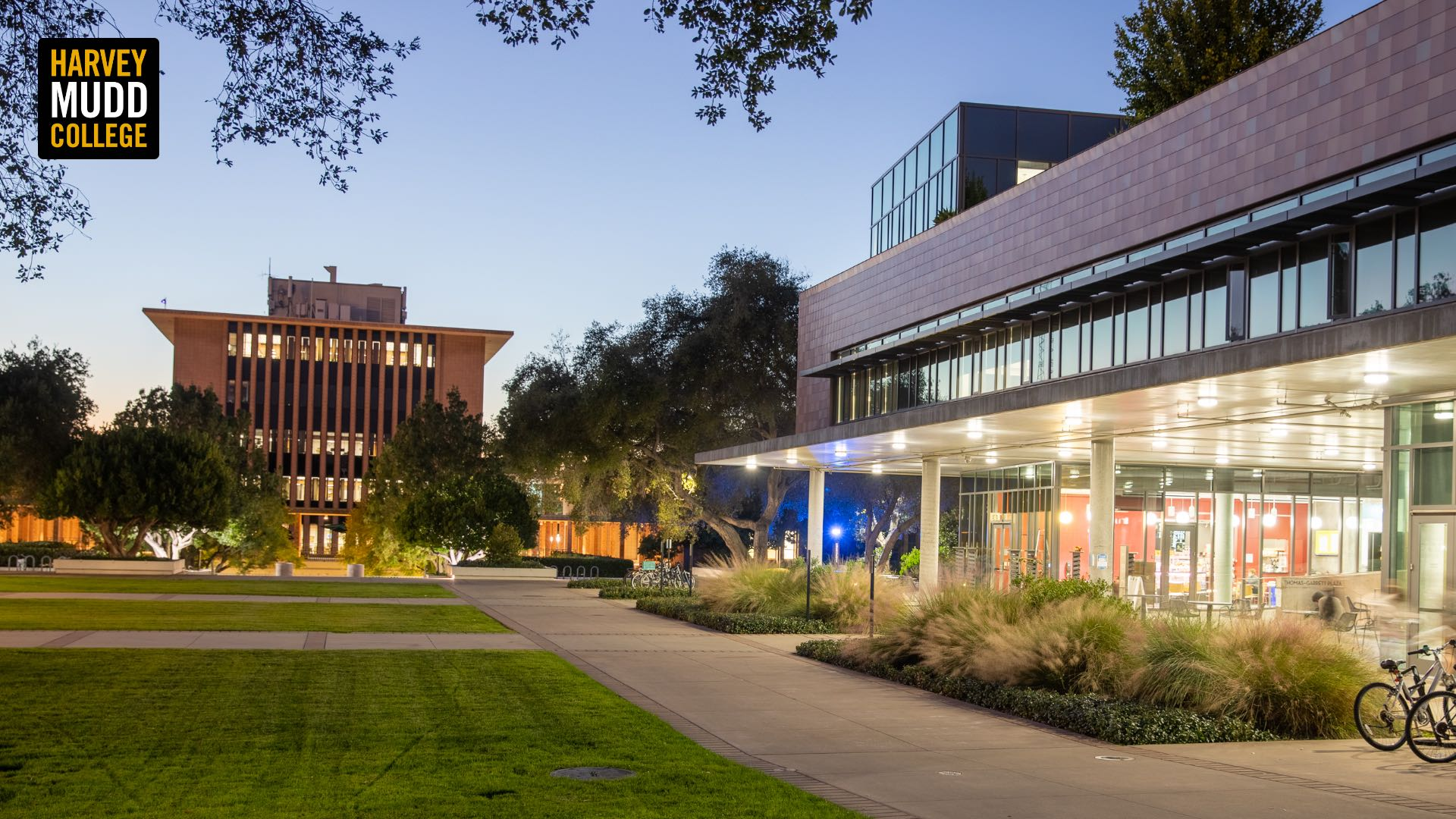 Shanahan Center and Sprague Center, looking west at night, Harvey Mudd College