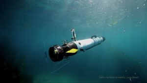 An autonomous underwater vehicle in the ocean