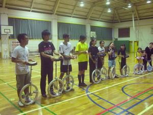 Harvey Mudd Watson Fellow Srisuknimit in Japan with the team that did figure unicycling.