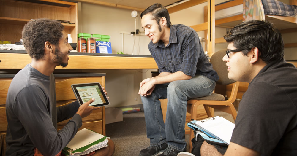 Students hangout in dorm room