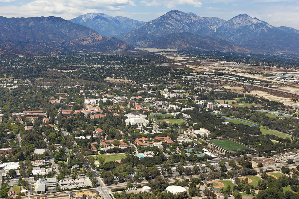 Aerial view of the Claremont Colleges