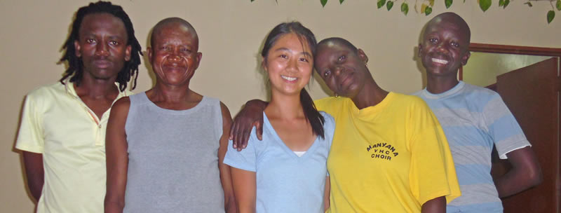 Student with her Botswanan host family.