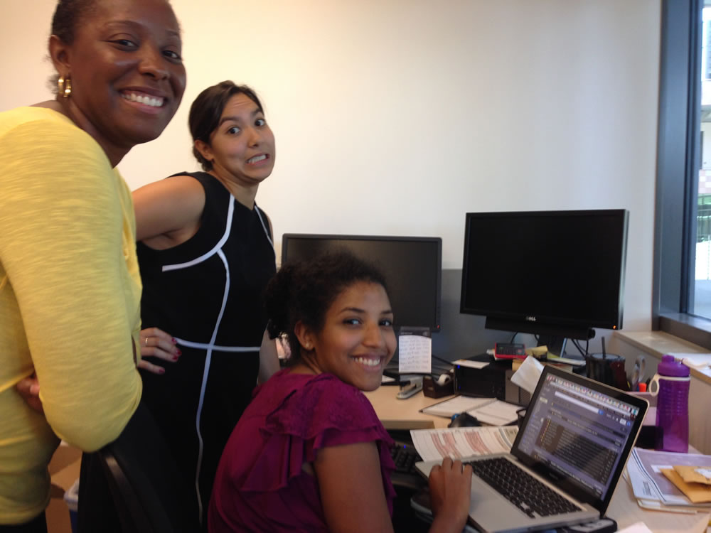 Here, you can see Jamilla 'bossing around' Risa and Sophia, fellow senior interns.