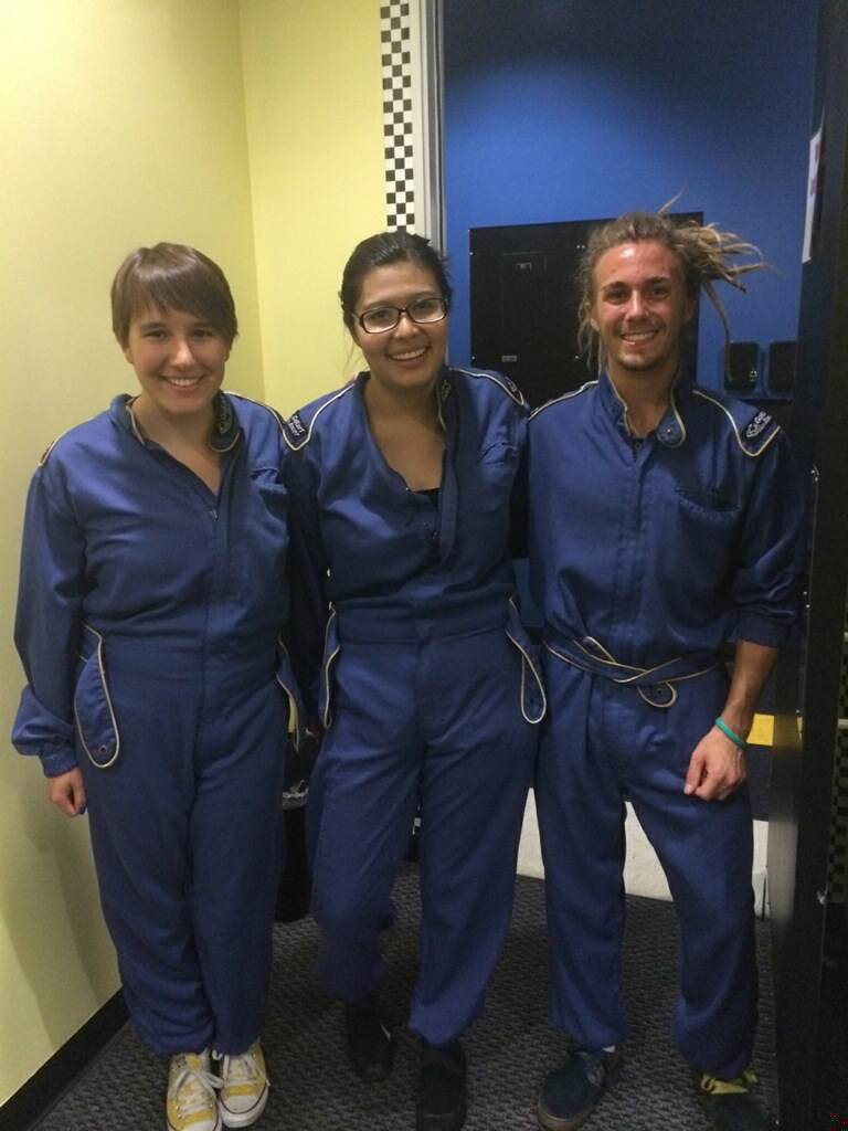 Emily Blatter '15, Daisy Hernandez '15, and Skyler Williams '16 all dressed up for go-karting!