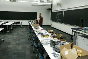 The participants had access to an extremely large collection of parts, hardware, and tools throughout the night of the hackathon, all thanks to the organizers!