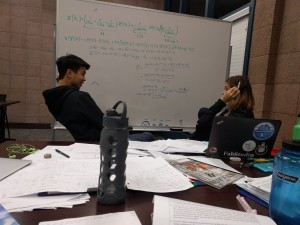 Richard Liu and Kim Joly working on E72 a couple of nights ago. In this instance, they were briefly stressed out by Laplace Transforms.