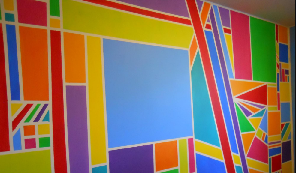 A colorful abstract geometric mural