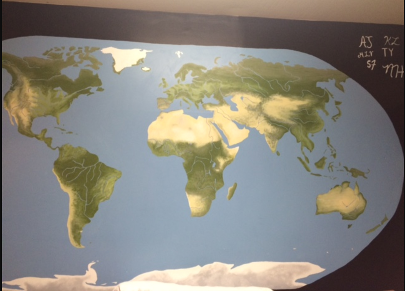 A world map mural
