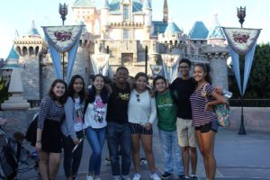 A group of Harvey Mudd students poses in front of the castle at Disneyland