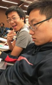 Makoto grins as Richard falls asleep