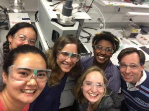 Kyla's research group poses with safety glasses