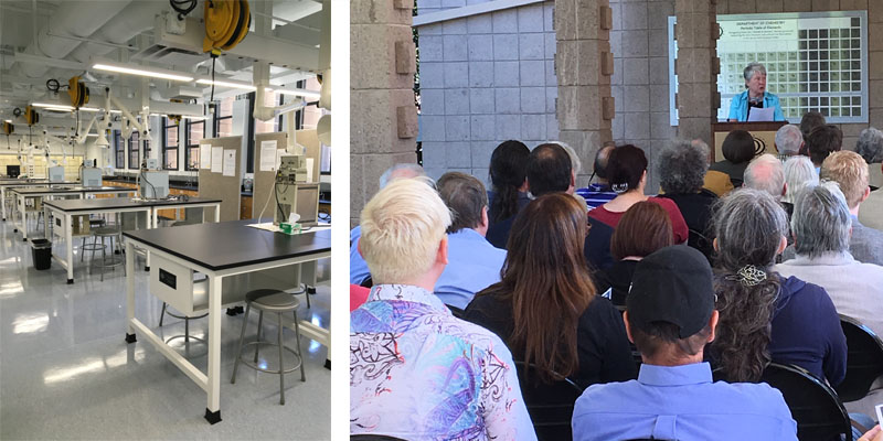 Left: lab benches in the DePriester Family Physical Chemistry Lab. Right: community members listen to President Maria Klawe speak in front of the chemistry building