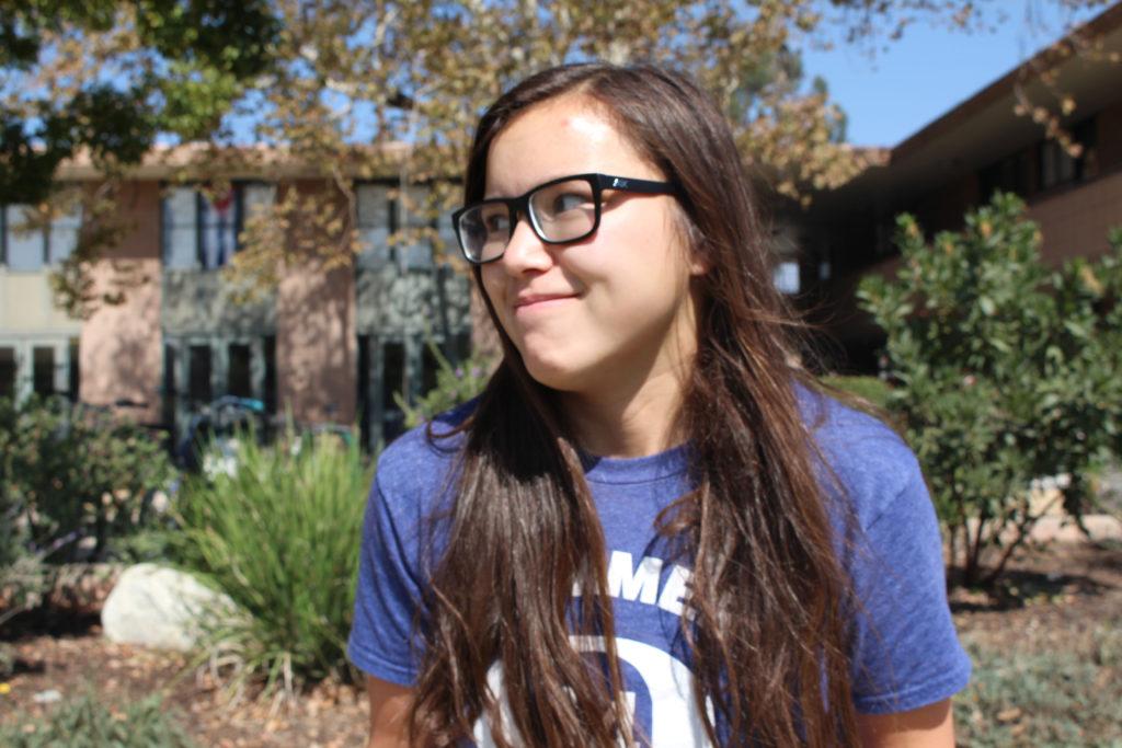 Sophomore Samantha, outside her dorm.