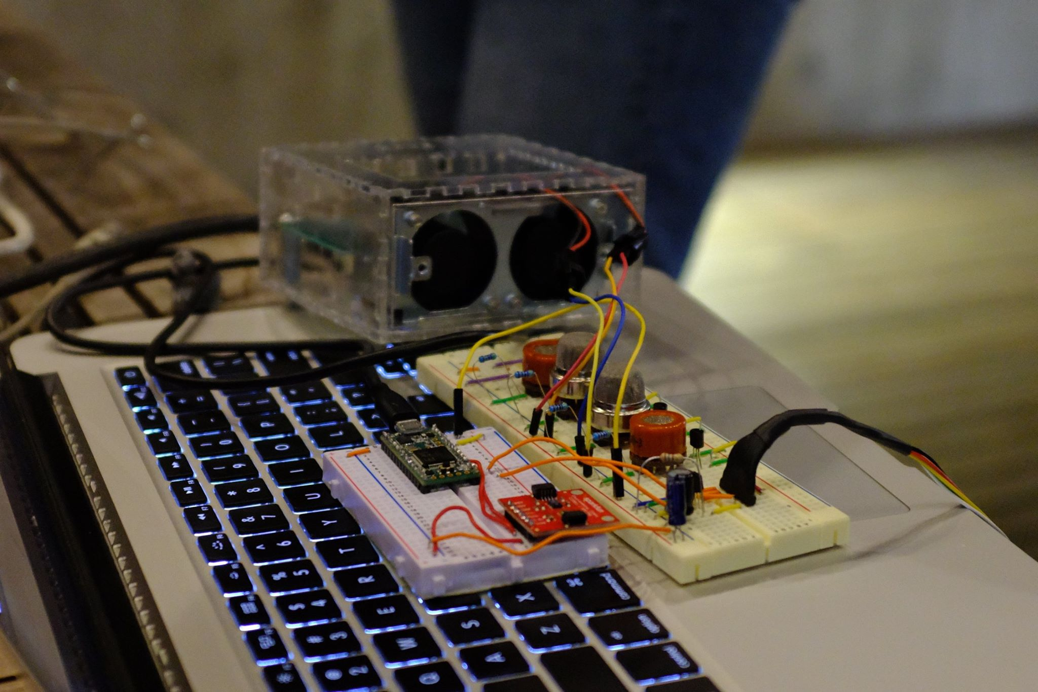 A prototype made with two breadboards