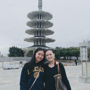 Jeni Zhu and a friend in Japantown, San Francisco