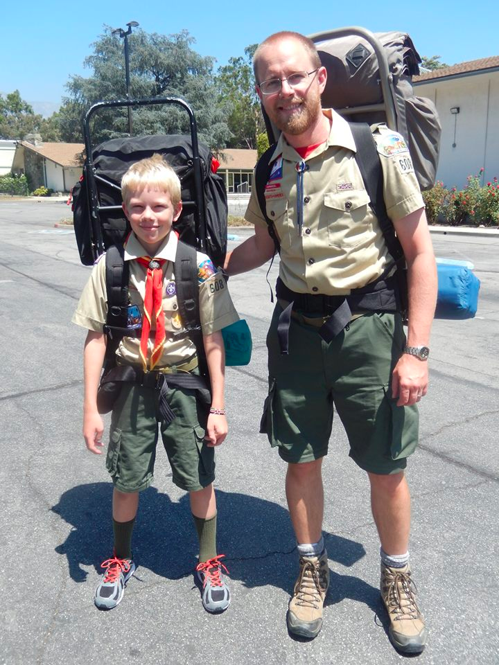 David Vosburg with his son, Nate, before a boy scouts backpacking trip.