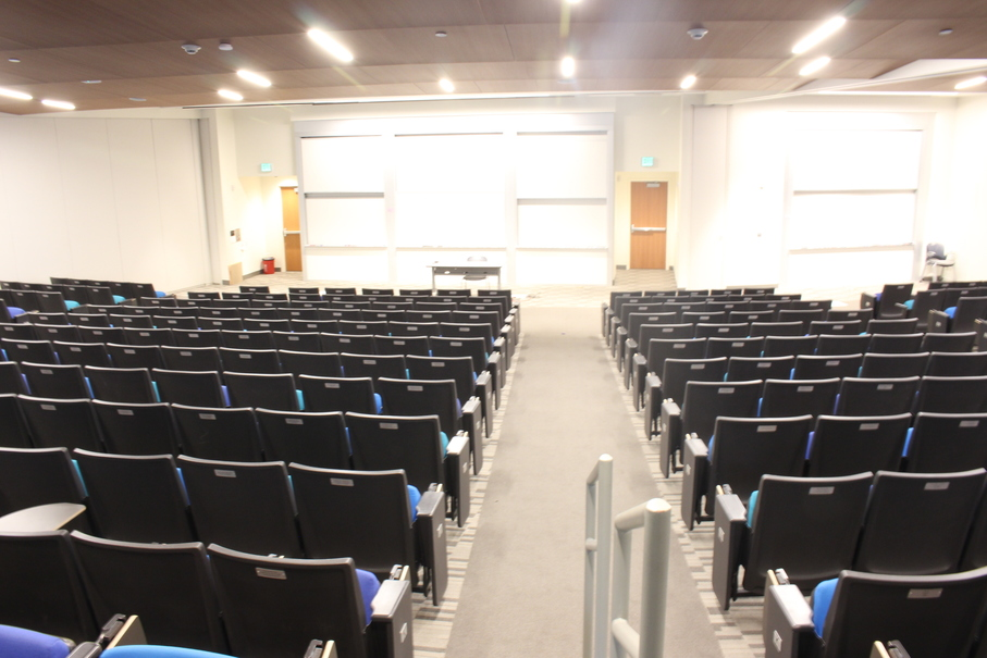 Rows of seats in the newly-renovated Galileo lecture hall.