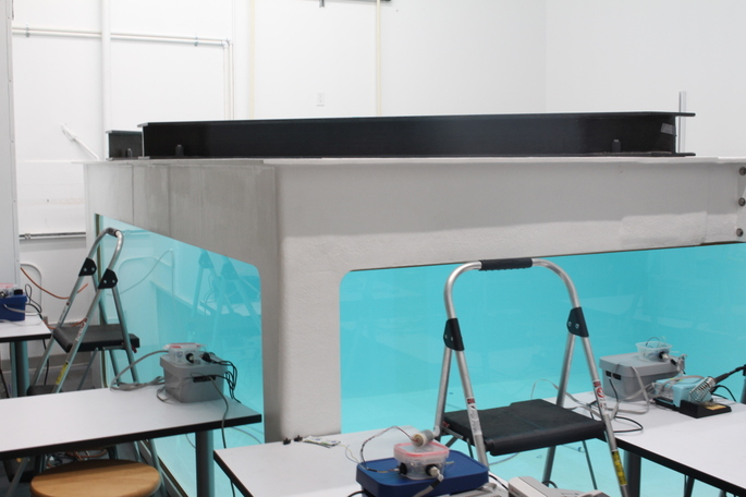 A water tank for testing underwater robots.