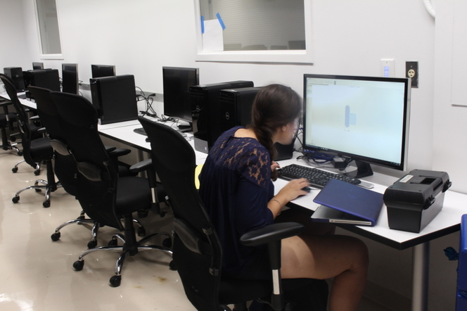 A student hard at work in the engineering computer lab.