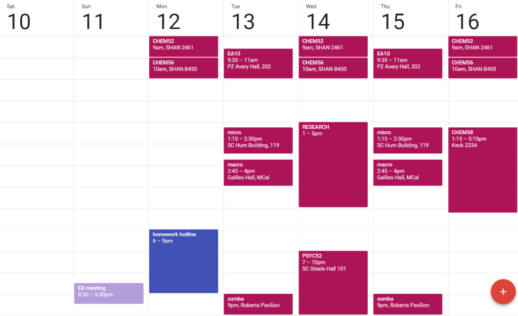 A weekly view in Google Calendar featuring my classes and work schedule.