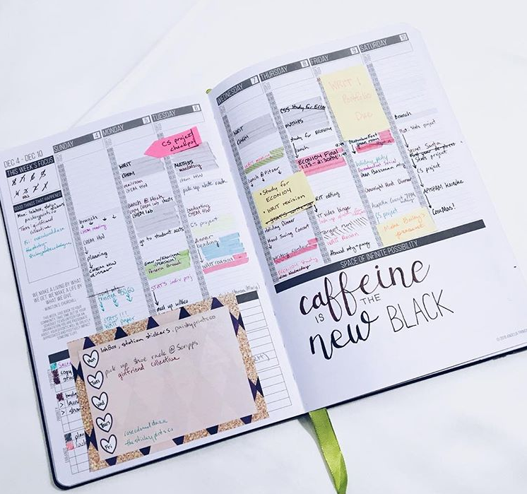 A weekly spread showing off time blocking and the hourly layout of the Passion Planner.