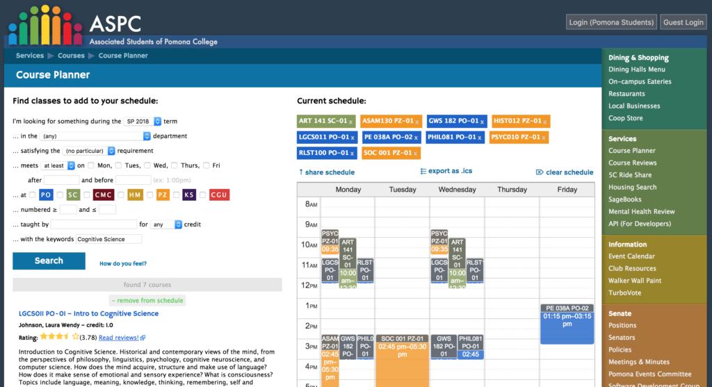 Screenshot of ASPC Course Planner Website.