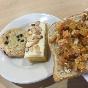 Whole wheat toast with egg, butternut squash, balsamic dressing, and goat cheese with a vegan chocolate chip cookie and almond orange cake