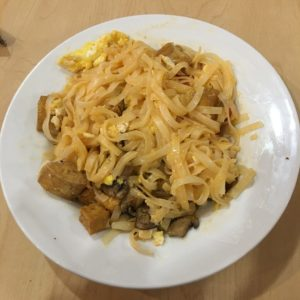 pad thai with choose your own toppings; tofu, egg, mushroom, and bell pepper