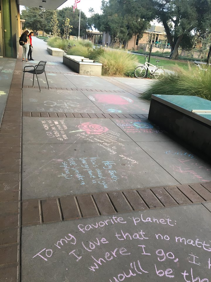 Various love notes to the earth, written on the ground in chalk.