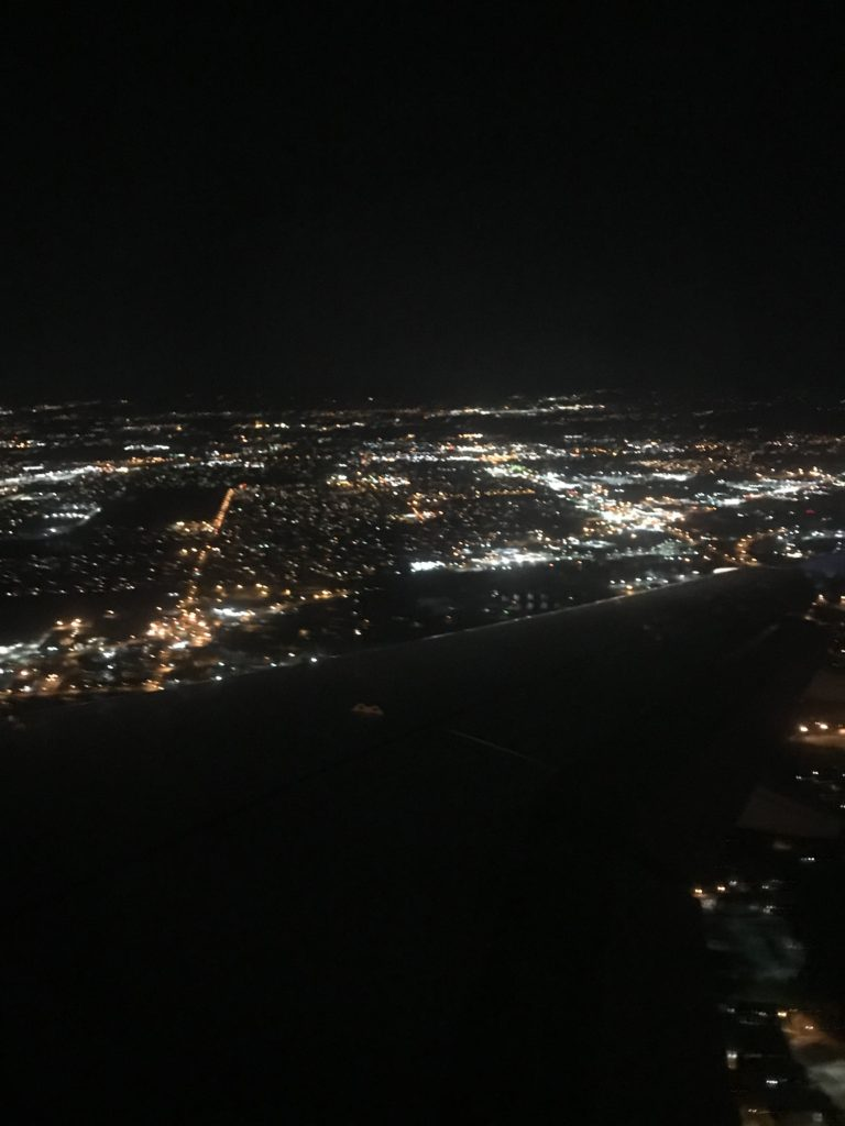view of Indianapolis from airplane window