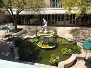 Hixon Court fountain as seen from above. There is a statue of Venus in a large fountain with lilypads and koi fish