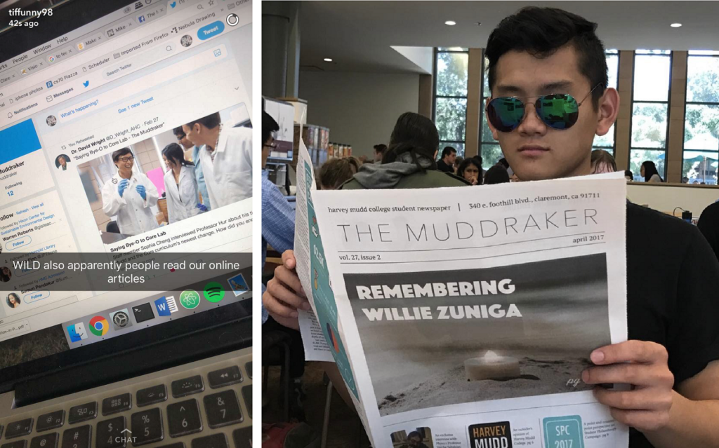 "LEFT: A photo of a laptop screen open to a twitter feed where someone has posted a Muddraker article titled Saying Bye-O to Core Lab. The photo says ""WILD also apparently people read our online articles"" RIGHT: A student wearing large sunglasses holds up an reads an issue of a newspaper"