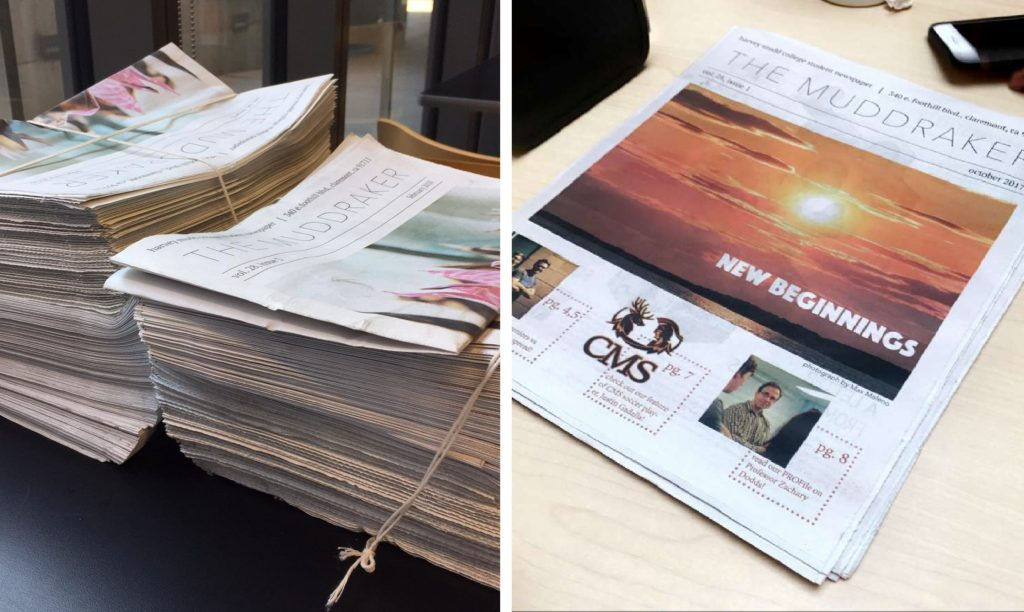 LEFT: Two large side-by-side stacks of newspapers RIGHT: A small stack of newspapers