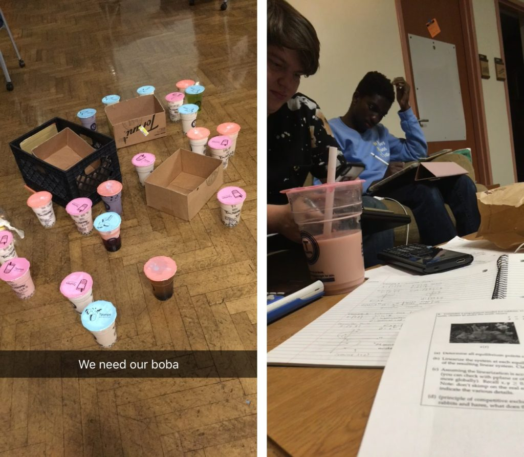 LEFT: About 20 multicolored boba drinks scattered across the floor with empty cardboard boxes. RIGHT: A math assignment and a half empty boba cup on a table with two students working on homework in the background.