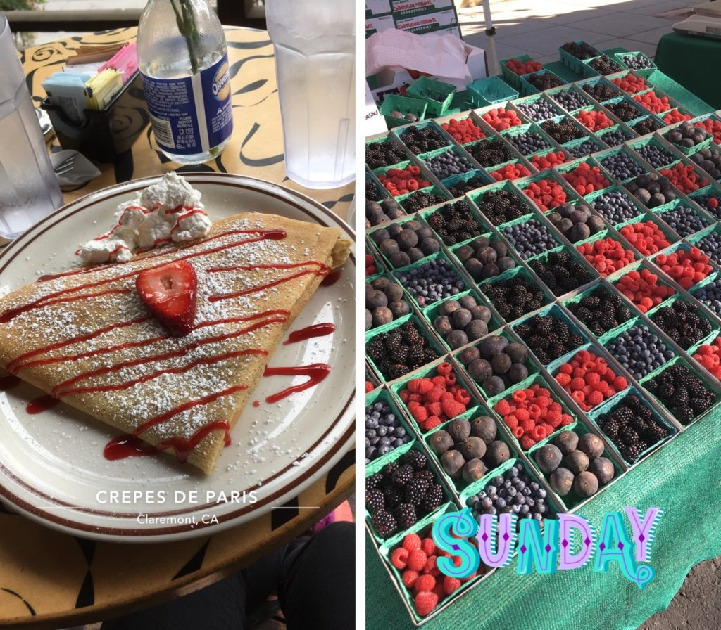 LEFT: A crepe topped with strawberry sauce and and powdered sugar on a plate. RIGHT: An array of raspberries, blackberries, blueberries and figs at a farmers market table.