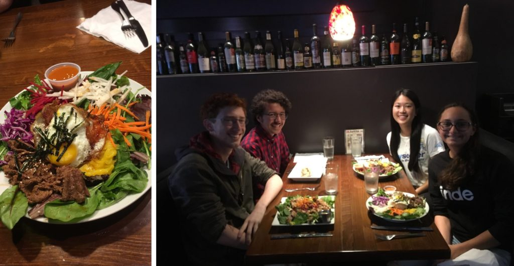 LEFT: A full plate of colorful vegetables, meat, and a fried egg. RIGHT: Four friends at a table with plates of food.