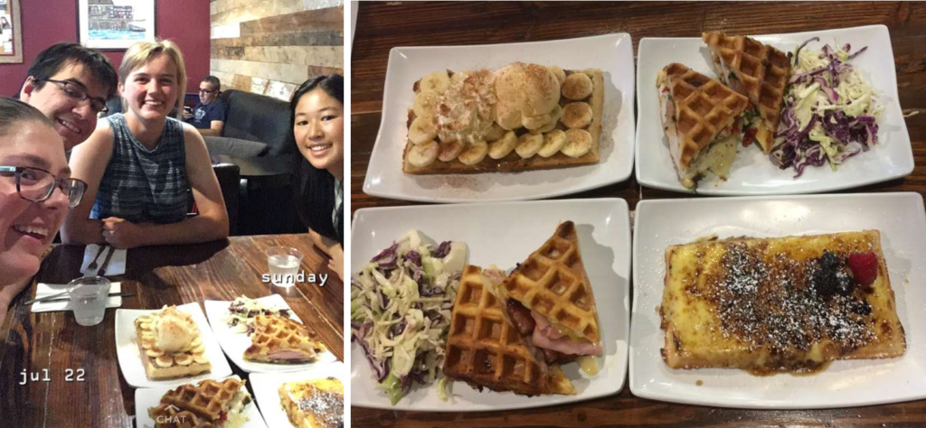 Left: Four people sit around a table with plates of waffles in front of them Right: Four plates of different waffles are all arranged in a square