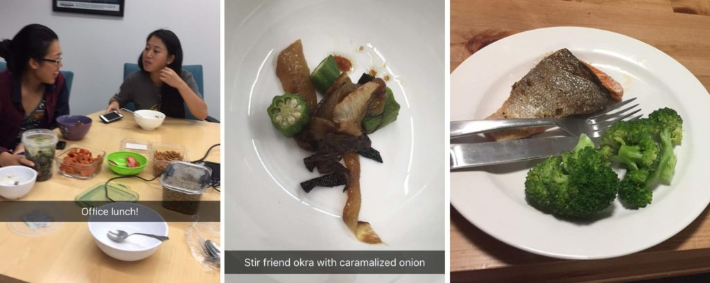 Left: Two girls eat from bowls on the table. Also arranged on the table are many containers holding different foods. Middle: A close up photo of a dish of stir fried okra and onion Right: A plate with salmon, some pieces of broccoli, and utensils