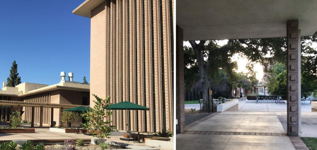 Left: The right side of the photo shows a tall building that has lines of concrete bumps along one side of the building. Right: An archway has two pillars supporting the roof. Both pillars are covered in protruding squares called warts