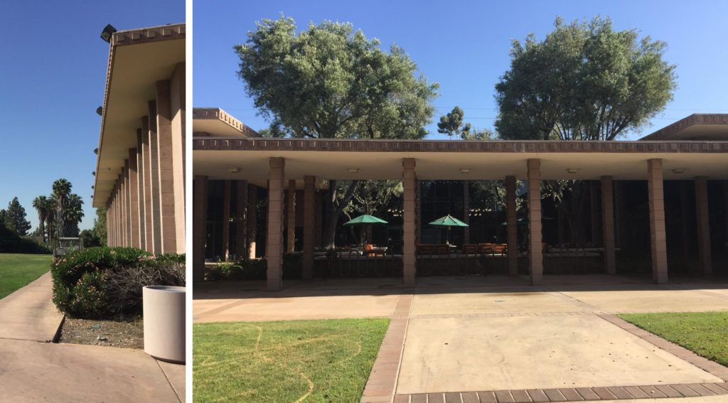 Left : The right side of this photo shows part of a building where the roof sticks out over the walls. On the edge of the roof are concrete squares that stick out. Right: A front view of a building that has a covered pathway in front of it. The pillars holding up the roof of the covered pathway as well as the edge of the pathway roof and building roof all have protruding square warts on them